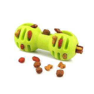 Fluffy Paws Pet Treat Toy Hollow Bone Shaped Pet Toy Durable FeedBall for Dog (Dental Treat and Bite Resistant), Green