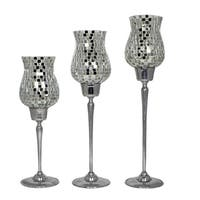 Exotic Clear Mosaic Candle Holders, Silver (Set of 3)