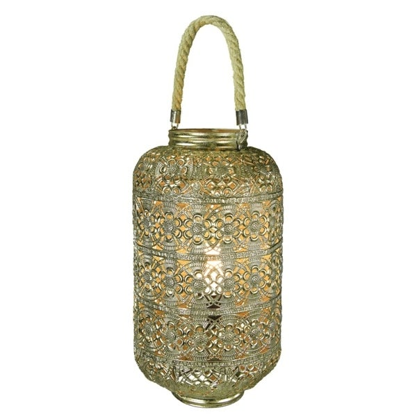 Dazzling Metal Lantern With Rope Handle, Gold