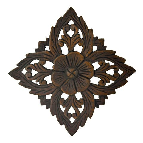 Handmade Amazing Floral inspired Hand Carved Wooden Wall Art (Thailand)