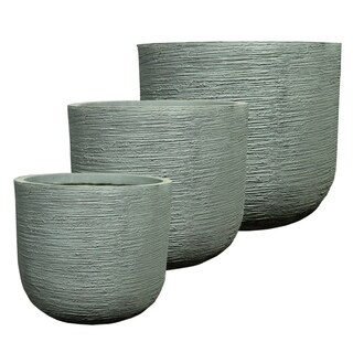 Trendsetting Round Fiber Clay Pots (Set of 3)