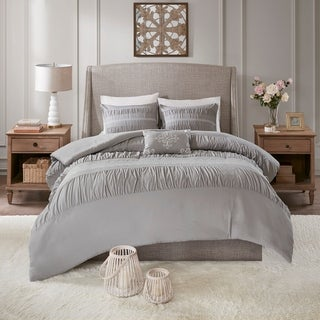 Madison Park Viona Grey 4 Piece Duvet Set