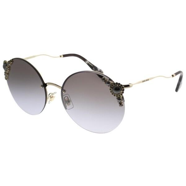 b45c6ce706e Miu Miu Round MU 52TS WO42H2 Women Pale gold Frame Silver Mirror Lens  Sunglasses