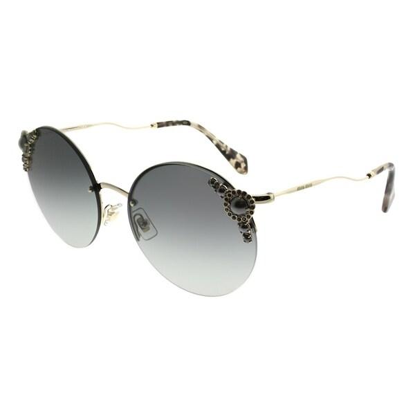 6de493a4689 Miu Miu Round MU 52TS WO43M1 Women Pale gold Frame Grey Gradient Lens  Sunglasses