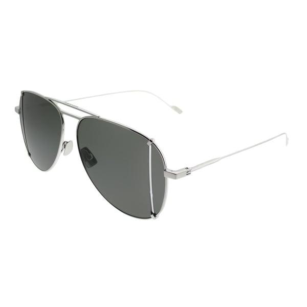 f3525ec55c Saint Laurent Aviator SL 193 T Cut 001 Unisex Silver Frame Green Lens  Sunglasses