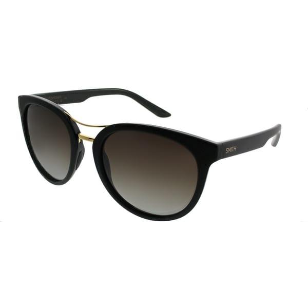 3db5fe28ec Smith Round Bridgetown DL5 AY Women Matte Black Frame Brown Gradient Polarized  Lens Sunglasses