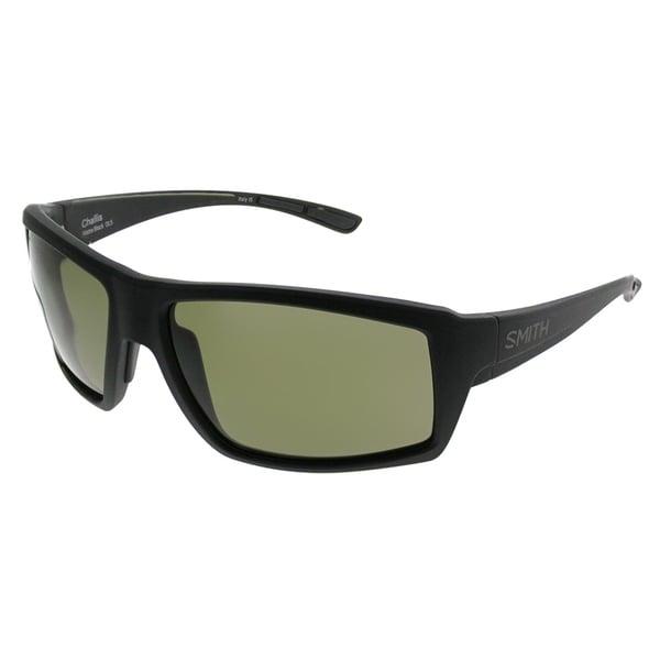 c74d24736f Smith Rectangle Challis DL5 L7 Unisex Matte Black Frame Green ChromaPop  Polarized Lens Sunglasses