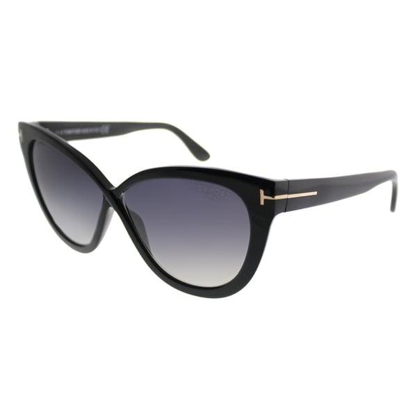 4813f9caf8999 Tom Ford Cat-Eye TF 511 Arabella 01D Women Shiny Black Frame Grey Polarized  Lens