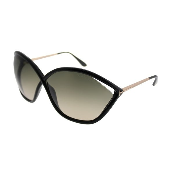 Tom Ford Oval TF 529 Bella 01B Women Shint Black Frame Grey Gradient ...