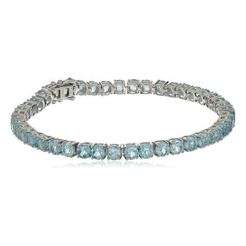 Sterling Silver Sky Blue Topaz Round Tennis Bracelet