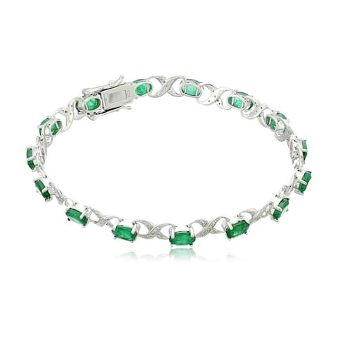 Sterling Silver 7 cttw Emerald and Diamond Accented Tennis Bracelet, 7.25""