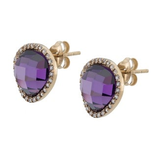 Argenti 14k Gold over Sterling Silver Simulated Amethyst Pave Halo Stud Earrings
