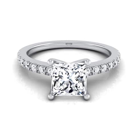 1 1/5ctw Princess Cut Center Classic Petite Split Prong Diamond Engagement Ring In 14k White Gold, Igi-certified