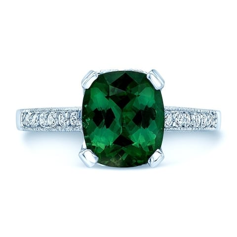 18K White Gold Green Tourmaline and Round Cut Diamond (0.41 ct. t.w) Statement Ring, Size 7