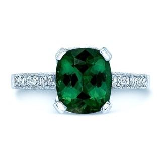 18K White Gold Green Tourmaline and Round Cut Diamond (0.41 ct. t.w) Statement Ring, Size 7