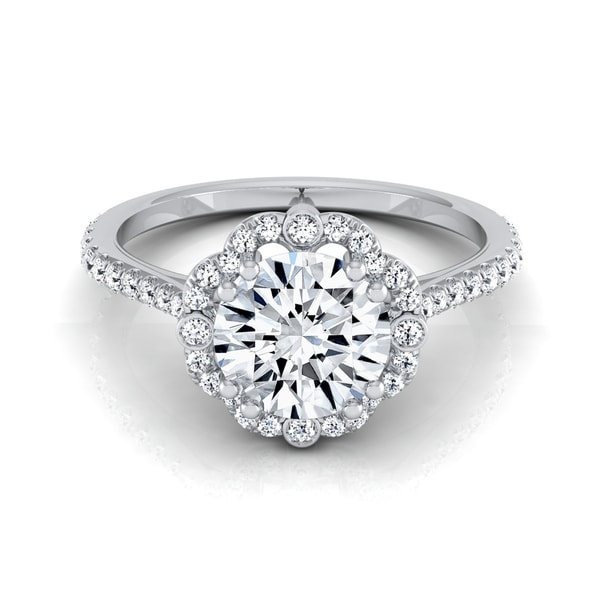 2445b42326 1 1 4ctw Round Diamond Scalloped Halo Engagement Ring With Graduated Shank  In 14k White