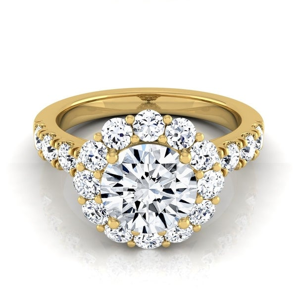 2 1/16ctw Round Diamond Halo Engagement Ring With Pave Shank In 14k Yellow Gold, Igi-certified
