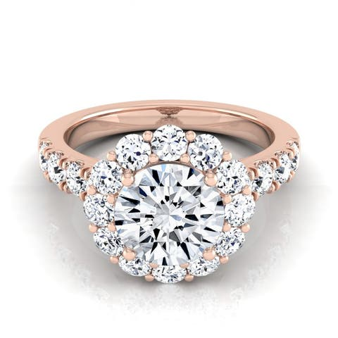 2 1/16ctw Round Diamond Halo Engagement Ring With Pave Shank In 14k Rose Gold, Igi-certified