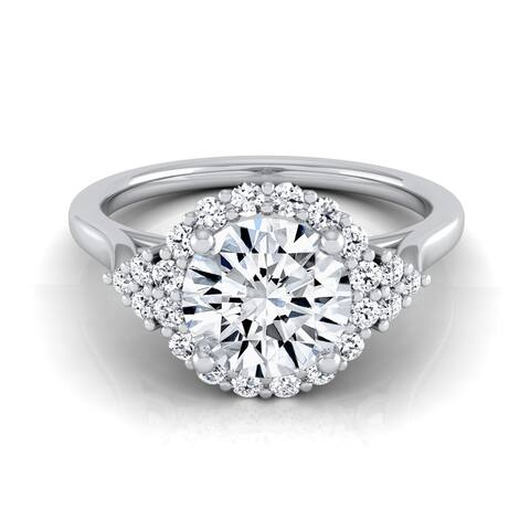 1ctw Round Diamond Halo Engagement Ring With Scroll Gallery In 14k White Gold, Igi-certified