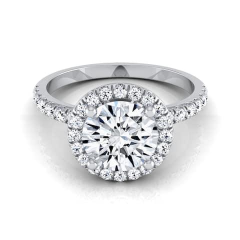 1 1/3ctw Round Diamond Round Halo Engagement Ring In 14k White Gold, Igi-certified