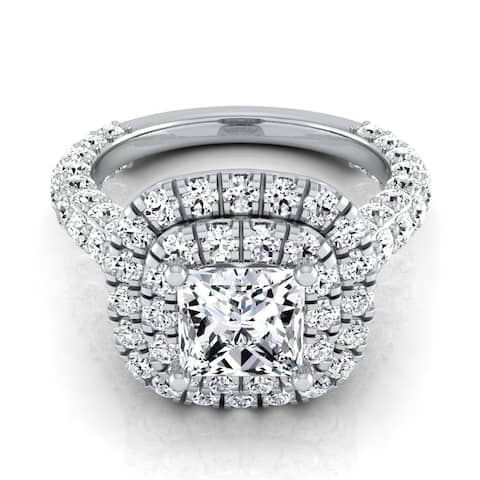 3 1/6ctw Princess Cut Diamond, Double Square Halo Engagement Ring With Pave Shank In 14k White Gold, Igi-certified