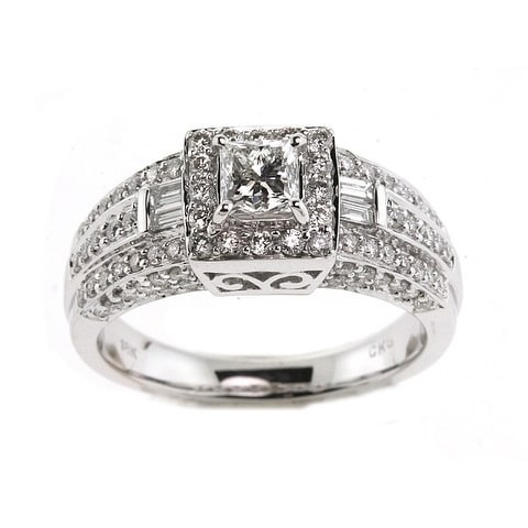 5f2236a12bd43 Diamond Princess Cut Framed Engagement Ring In 14k White Gold (1-3/8ctw)