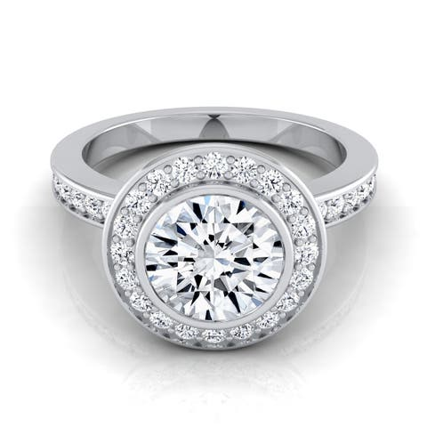 1 3/8ctw Round Diamond Halo Engagement Ring With Bezel Center In 14k White Gold, Igi-certified