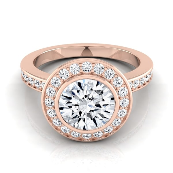 7090dee3dc1a97 1 3/8ctw Round Diamond Halo Engagement Ring With Bezel Center In 14k Rose  Gold
