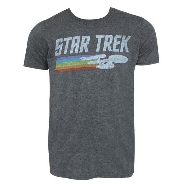 Star Trek Enterprise Rainbow Logo Grey Tee Shirt