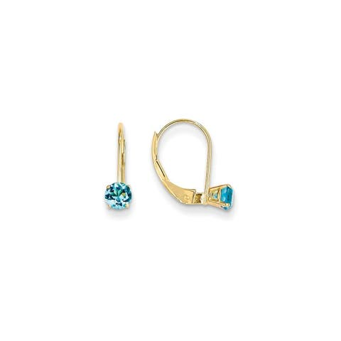 Versil 14 Karat Yellow Gold 4mm Round December/Blue Topaz Leverback Earrings
