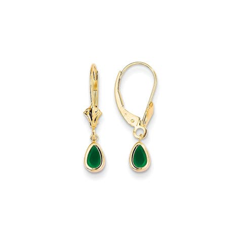 Versil 14 Karat 6x4mm Emerald/May Earrings