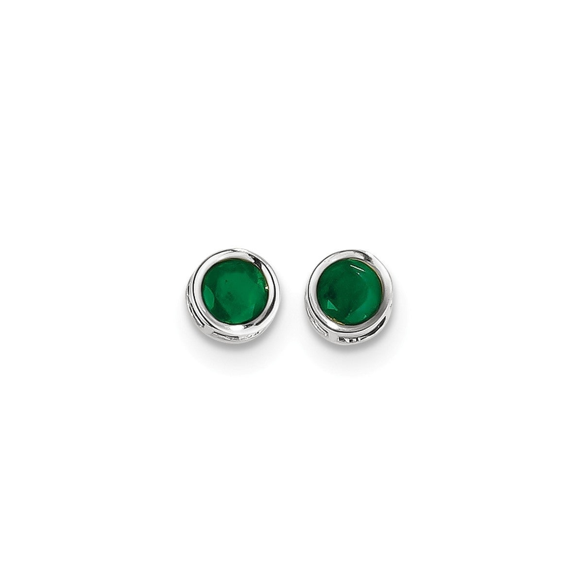 14K Yellow Gold Bezel Round 5mm Emerald May Stone Post Earrings