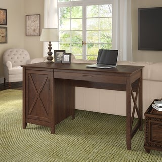 Bush Furniture Key West 54W Computer Desk with Storage in Bing Cherry