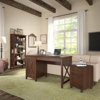 Key West Computer Desk with Storage, File Cabinet, Bookcase in Cherry