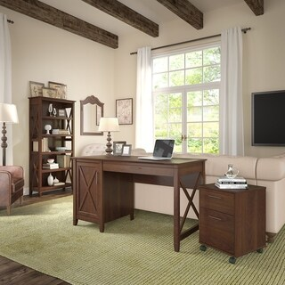 Bush Furniture Key West 54W Computer Desk with Storage, 2 Drawer Mobile File Cabinet and 5 Shelf Bookcase in Bing Cherry