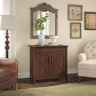 The Gray Barn Cross Hands Secretary Desk with Keyboard Tray and Cabinet in Bing Cherry