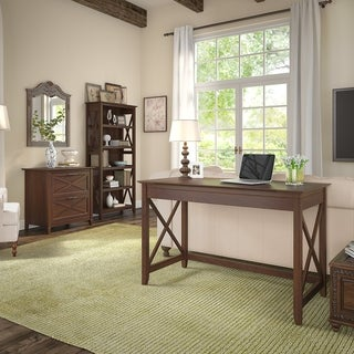 Key West 48W Writing Desk, Lateral File Cabinet and Bookcase in Cherry