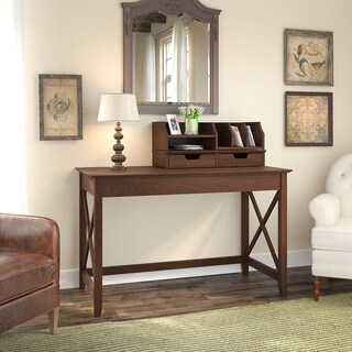 Bush Furniture Key West 48W Writing Desk with Desktop Organizers in Bing Cherry