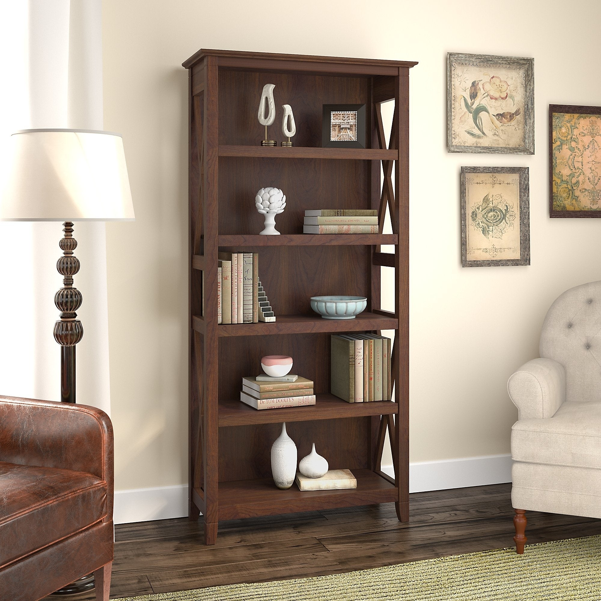 The Gray Barn Hickory Place 5 Shelf Bookcase 31 73 L X 12 64 W X 65 98 H