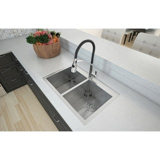 Ancona Top Mount Double Handmade 30 in. Sink with Palermo Kitchen Faucet Combo