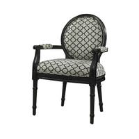 Powell Onyx Black Wood Upholstered Accent Chair