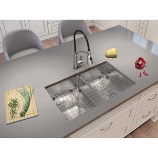 Ancona Undermount Double Handmade 28 in. Sink with Palermo Faucet Combo
