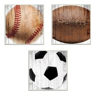 The Kids Room by Stupell Baseball Football Soccer Wood Planks 3pc Wall Plaque Art Set, 12 x 0.5 x 12, Made in USA - 12 x 12