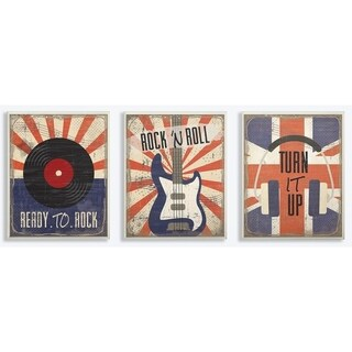 The Kids Room by Stupell Orange and Blue Rock And Roll Music Set of 3 3pc Wall Plaque Art Set, 10 x 0.5 x 15, Made in USA