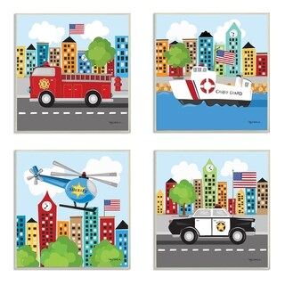The Kids Room by Stupell Fun Cartoon Metro Vehicle Heroes Set of 4 3pc Wall Plaque Art Set, 12 x 0.5 x 12, Made in USA