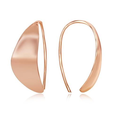 La Preciosa Sterling Silver, Gold Plated, Rose Gold Flat Crescent Moon Design Threader Earrings