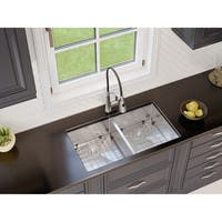 Ancona Undermount Double Handmade 32 in. Sink with Palmero Faucet Combo