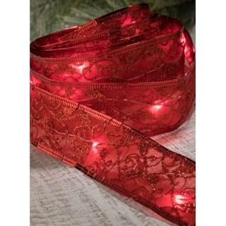 Red Decorative LED Lighted Ribbon Strand