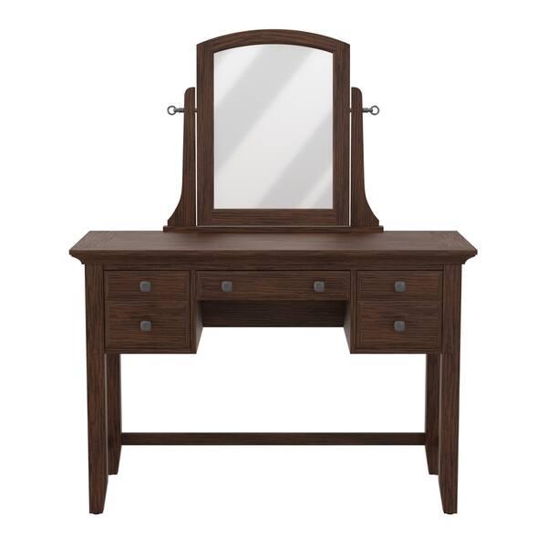 Shop Modern Mission Bedroom Vanity And Mirror In Vintage Oak Finish Overstock 21214212
