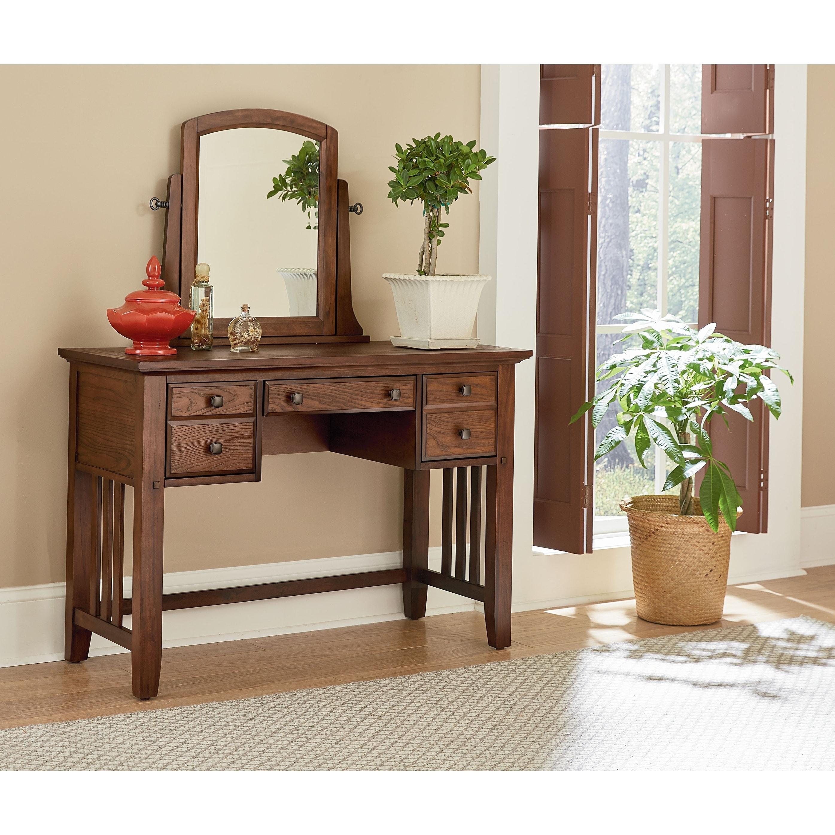 Modern Mission Bedroom Vanity and Mirror in Vintage Oak Finish